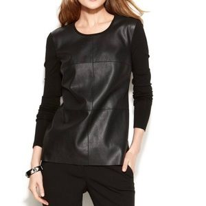 Vince Camuto Faux Leather Top Shirt